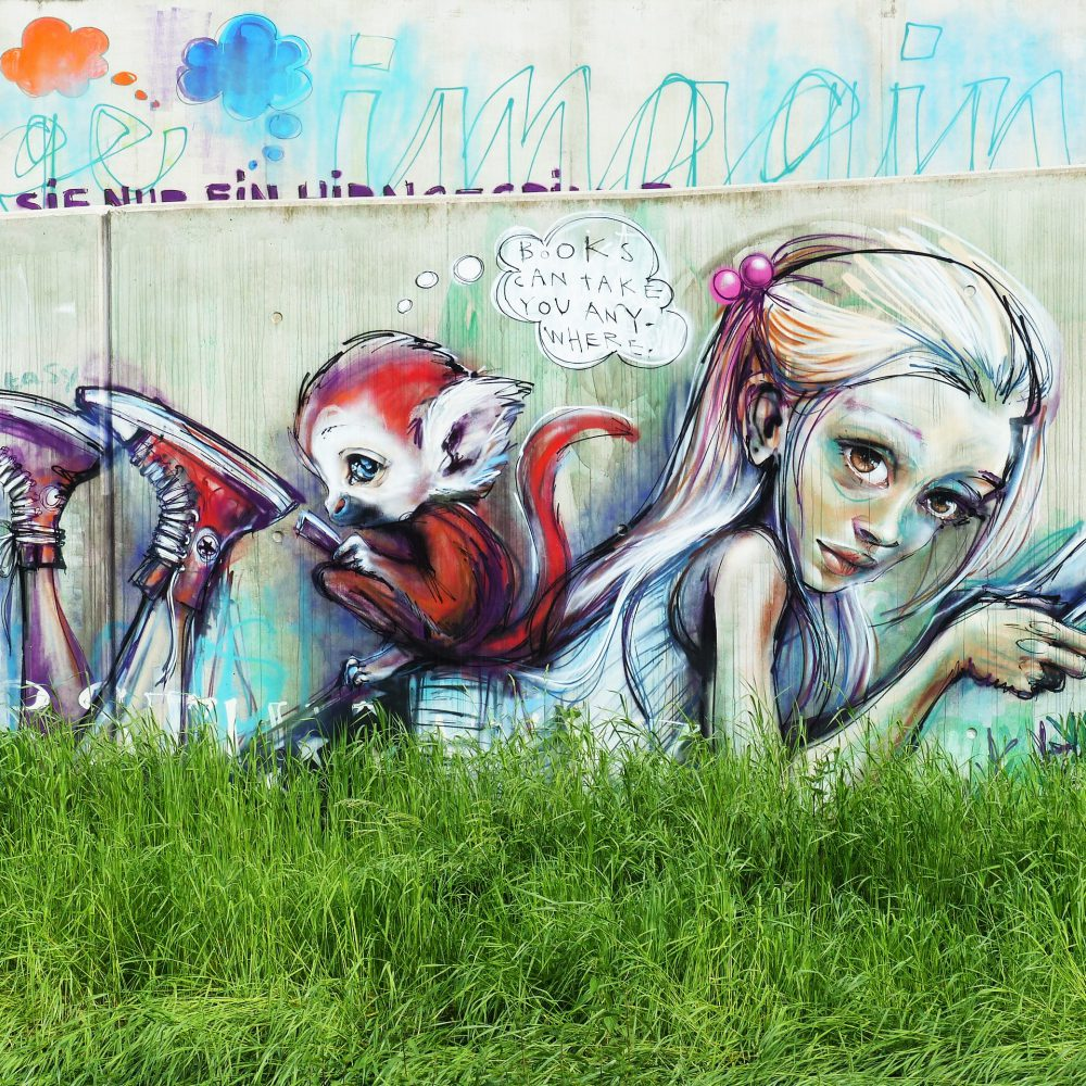 Graffiti Kunstwerk von Herakut an der Niddabrücke